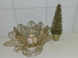 2 GOLD WIRE SHIMMER VOTIVE CANDLE HOLDER DECOR & CHRISTMAS TREE