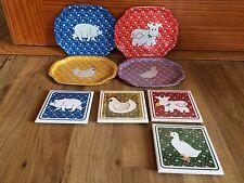 Set Of 4 Vintage Farm Animals Metal Trays & 4 Coasters