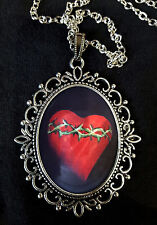 Folk Art Sacred Heart Large Antique Silver Pendant Necklace Mexico Wood Artesan