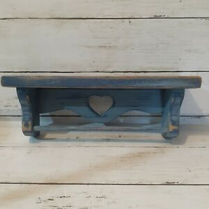 """Rustic country Wooden Shelf With Heart Cutout Distressed Blue wall shelf 12"""""""