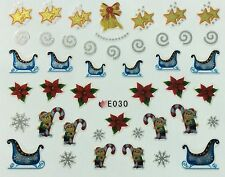 Nail Art 3D Decal Stickers Christmas Sliigh Poinsettia Snowflakes Candycane E030