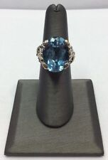 18k GOLD & STERLING SILVER Barbara Bixby 14ct BLUE TOPAZ Vintage Leaf RING SZ 6