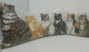 Cat Door Draft Dodger Stopper 6 Stuffed Cat Kittens 3ft long x 14 inch Winter
