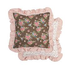 Kissenbezug ROMANTIK ROSE Deko Hülle Landhausstil 40x40 Rüsche weiß braun rosa