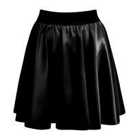 NEW WOMENS BLACK WET LOOK SHINY HIGH WAISTED RA RA SKATER MINI SKIRT SIZE 6-12