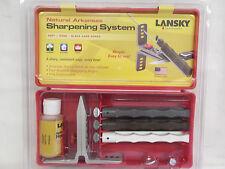 LANSKY Natural Arkansas Knife Blade Sharpener 3 Hones Kit LKNAT