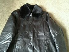 Vintage Field Gear Black Leather Insulated Jacket/Coat- Fur Collar- Small  VGUC