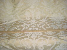 10Y KRAVET LEE JOFA CHAMPAGNE FLORAL DAMASK FAUX SILK DRAPERY UPHOLSTERY FABRIC