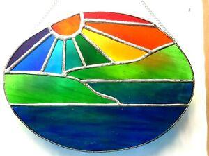 Rainbow Sunshine landscape lake Stained glass Panel suncatcher window hanging