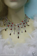 Rhinestone Choker Necklace Bridal Drag Queen Multi Color Crystals Goddess Drag