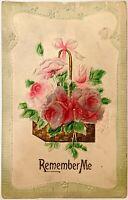 "Antique Embossed Flocked Flowers Postcard With Gold Leaf ""Remember Me"""