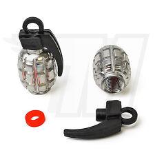 2x Tapón De La Válvula Metal para Neumáticos coche, GRANADA MANO Cromo Negro