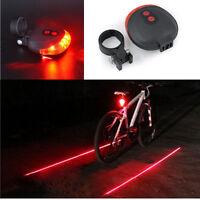 Bike 2 Laser+5 LED Flashing Lamp Rear Cycling Bicycle Tail Safety Warning Light@