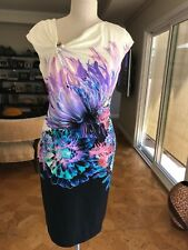 Auth Roberto Cavalli Dress Floral Below Knee Size 48 Large Made in Italy Gorges!