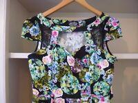 HEARTS & ROSES BLACK FLORAL VINTAGE INSPIRED DRESS - SIZE 10