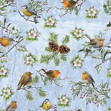 Fat Quarter Winter Cottage Birds Robin Blue Tits Scene Cotton Quilting Fabric