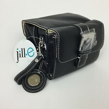 Jill-E Camera Bag Compact Black Leather Wristlet Ladies Carrying Case Womens