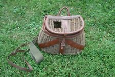 Antique Wicker Fishing Basket/Creel Leather Straps