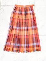 Vintage Christian Dior Plaid Pleated Skirt 100% Wool Size 6