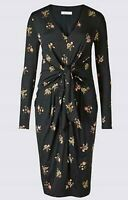 New M&S Per Una Black Floral Spot Smart Office Casual Shift Dress Size 6-24