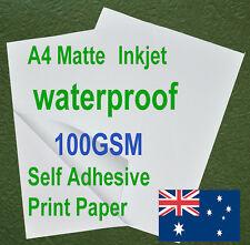 120sheets A4 100GSM Inkjet Waterproof Sticker Adhesive Matte Photo Print Paper