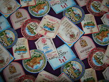 Wine labels on burgundy in an all over Quilting Cotton Fabric BTY
