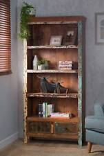 RECYCLED RECLAIMED INDIAN WOOD TALL BOOKCASE / BOOKSHELVES - SOLID WOOD FURNITUR