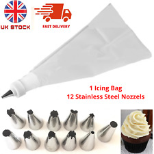 12Pcs STAINLESS STEEL/Set Icing Piping Bags Cream/Pastry/Cake/ Decoration/Nozzel