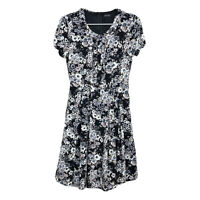 Liza Luxe ModCloth Womens Black Floral Ruffle Short Sleeve Skater Dress Sz Small