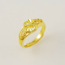 24K Yellow Gold Plated Butterfly Wing Heart Women Ring Adjustable Size JR033