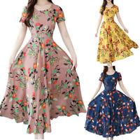 Womens Fashion Grace Mid-Calf  Short Sleeve Dress Beach Boho Printing Long Dress