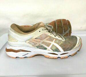 Asics Womens Gel Kayano 24 Reflective Running Shoes White Apricot Size 9.5