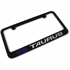 Ford Taurus Script Stainless Steel Black License Plate Frame Rust Free Caps