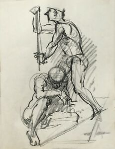 Lorser Feitelson classical drawing of two male nudes
