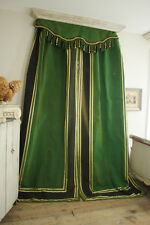 3 Piece Antique Bedroom CURTAIN SET Pelmet or Valance 1880 Striped GREEN & GOLD