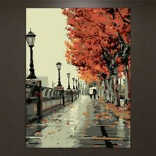 Stree Scene DIY Oil Painting By Numbers Acrylic Drawing On Canvas Home Decor