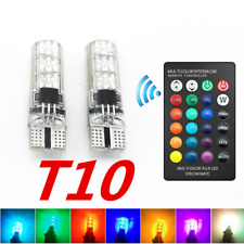 2x 5050 6SMD RGB T10 LED Car Wedge Side Light Reading Lamp Bulb + Remote Control
