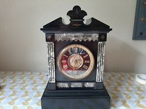 Victorian slate and marble large mantel clock needs repair