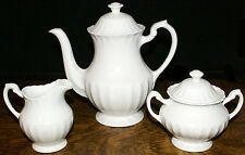J. & G. Meakin England Classic White Ironstone Teapot Creamer and Sugar Bowl