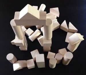 Classic wooden building blocks - 40 each not painted clean plain decoupage /K02
