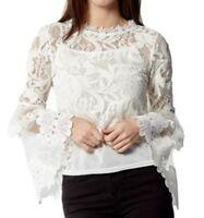 STELLA MORGAN WHITE LACE HIGH NECK TOP Shirt Size 12 RRP £32 Box E117