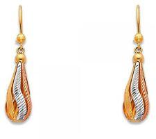 14K Yellow White Rose Gold 3 Tri-color Fancy Teardrop Dangle Hanging Earrings