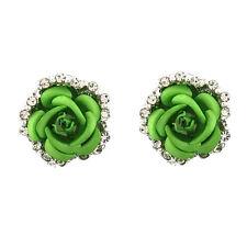 Women Fashion Jewelry Lady Elegant Crystal Rose Flower Ear Stud Earrings 1 Pair