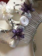 Purple Theme Bridal Hair Comb Button Beaded Floral Handmade Brooch Veil Vintage