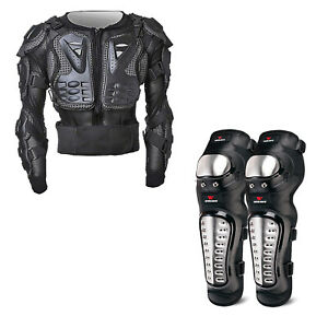 Motorcycle Body Armour Armor Chest Jacket Dirt Bike Knee Protector Gear Off Road