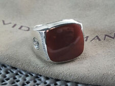 David yurman Sterling SIlver Exotic Stone Signet Ring with Red Agate size 9