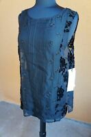 NEW 4 Love & Liberty Johnny Was Embellished Silk Tank Top Blouse Tunic S Black