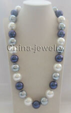 "N8441 -26"" 20mm white gray blue south sea shell pearl necklace - magnet GP clasp"