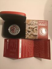 2012 AUSTRALIAN DRAGON 1 OZ SILVER PROOF RED COLOURED COLORED COIN LUNAR II