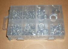 Muttern-Sortiment, 150 Stück verzinkt Größen M3...M12 in Kunststoffbox Neu